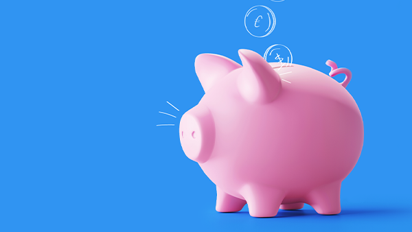 Illustration of pig on blue background